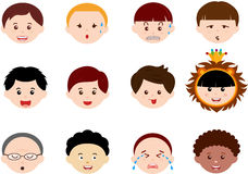 Heads of Boys, Men, Kids (Male) Different ethnics. A Theme of cute vector Icons : Heads of Boys, Men, Kids (Male Set) Different ethnics, isolated on white Stock Photography