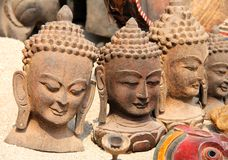 Heads of buddha at one of the local market Royalty Free Stock Images