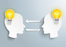 2 Heads 2 Bulbs. Infographic with 2 heads and 2 bulbs on the gray background Royalty Free Stock Image