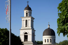 Heads Cathedral and blue sky. Chisinau, Moldova Royalty Free Stock Photography