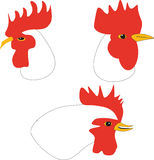 The heads of cocks and hen. Different emotions Royalty Free Stock Image