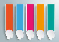 5 Heads Colored Banners Stock Photography