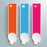 3 Heads Colored Banners Royalty Free Stock Images