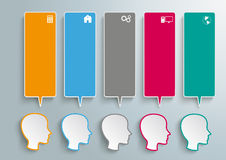 5 Heads Colored Speech Bubbles. Colored spech bubble banners with heads on the grey background royalty free illustration