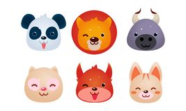 Heads of cute animals set, bear, face of panda, bear cow, cat, dog, squirrel, user interface assets for mobile apps or vector illustration