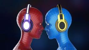Heads den färgrika flicka-roboten för disko två med skinande ögon i stor hörlurar som vänder mot sig, Vektor Illustrationer