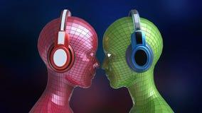 Heads den färgrika flicka-roboten för disko två med skinande ögon i stor hörlurar som vänder mot sig, Stock Illustrationer