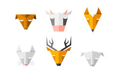 Heads of different animals. Triangle signs for computer software Royalty Free Stock Photo