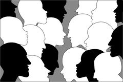 Heads in discussion. People profile heads Royalty Free Stock Images