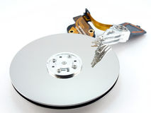 Heads and disk of hard drive Royalty Free Stock Images
