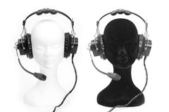 Heads dummies with headphones Royalty Free Stock Photos