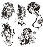Heads of female cyborgs Royalty Free Stock Images