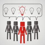 He heads of five people with bulbs. The concept of teamwork. The. Idea to reach a solution. Vector Stock Images