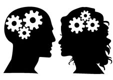 Heads with gears silhouettes Stock Photography