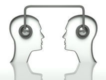 Heads with headset, concept of communication Stock Images