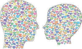 Heads with hearts Royalty Free Stock Image