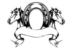 Heads horses and horse shoe Royalty Free Stock Images