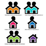 Heads of household icons symbols Royalty Free Stock Photos