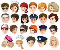 Heads of a lot of people with different professions Stock Photo