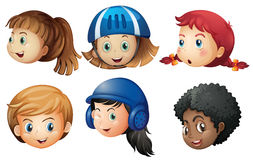 Heads of many girls with happy face. Illustration Stock Images