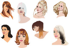 Heads with modern hairstyles Stock Photography