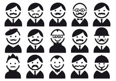 Heads with mustaches, vector set Royalty Free Stock Photo