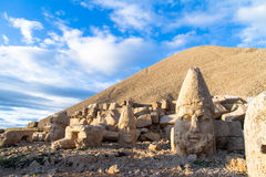 Heads on Nemrut Mountain. Stone heads of the gods of the Kommagene Kingdom on Nemrut Mountain, Turkey Stock Photos