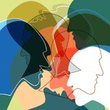 Heads people concept, symbol of communication between people. Stock Photos