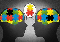 Heads with puzzles like brains. In which they lack a piece vector illustration