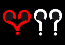Heads in question mark, vector Stock Photography