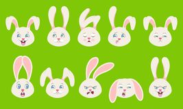 Heads of Rabbit with Different Emotions - Cheerful, Sad, Thoughtfulness, Funny, Drowsiness, Fatigue, Malice. Illustration Vector Royalty Free Stock Images