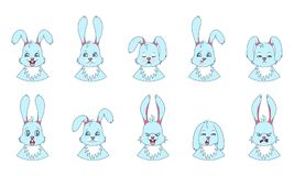 Heads of Rabbit with Different Emotions - Smiling, Sad, Anger, Aggression, Drowsiness, Fatigue, Malice, Fear. Heads of Rabbit with Different Emotions - Smiling Royalty Free Stock Photography