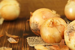 Heads of raw yellow onions Stock Photography