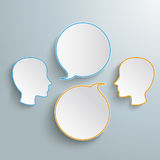 2 Heads 2 Round Speech Bubbles. Infographic with 2 heads and 2 speech bubbles on the gray background vector illustration