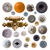 Heads of screws. Nails on white background Royalty Free Stock Photography