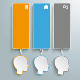 3 Heads Speech Bubbles Banners. Infographic with heads on the grey background. Eps 10 vector file stock illustration