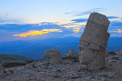 Heads of the statues on Mount Nemrut in Turkey, UNESCO. Heads of the statues on Mount Nemrut in Turkey in sunset time, UNESCO Royalty Free Stock Images