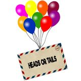 HEADS OR TAILS on envelope pulled by coloured balloons isolated on white background Stock Photography