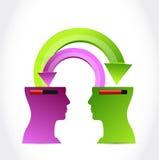 Heads transferring information. illustration Royalty Free Stock Image