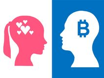 Heads of two people, abstract brain for concept bitcoin love stock illustration