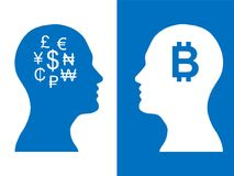 Heads of two people, abstract brain for concept bitcoin money royalty free illustration