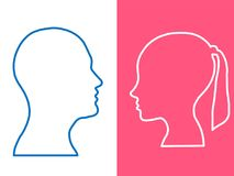 Heads of two people, woman and man, abstract brain for concept idea royalty free illustration
