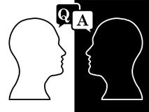 Heads of two people, brainstorming concept anwer question,. Process human thinking royalty free illustration