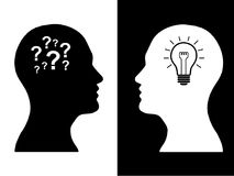 Heads of two people, brainstorming concept gear question. Heads of two people,brainstorming concept gear question, process human thinking royalty free illustration