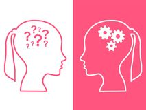 Heads of two people, brainstorming concept gear question. Heads of two people,brainstorming concept gear question, process human thinking vector illustration