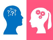 Heads of two people, woman and man, brainstorming concept gear question. Heads of two people,brainstorming concept gear question, process human thinking vector illustration