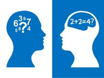 Heads of two people, brainstorming concept math question,. Heads of two people,brainstorming concept math question, process human thinking stock illustration