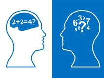 Heads of two people, brainstorming concept math question,. Heads of two people,brainstorming concept math question, process human thinking royalty free illustration