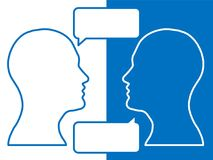 Heads of two people, brainstorming concept for question,. Heads of two people,brainstorming concept for question, process human thinking royalty free illustration