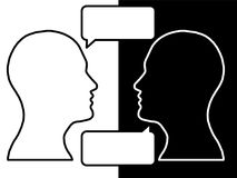Heads of two people, brainstorming concept for question,. Heads of two people,brainstorming concept for question, process human thinking vector illustration